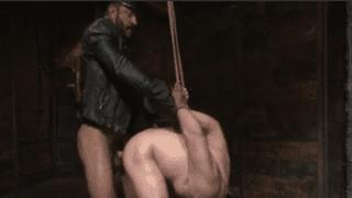 Rough daddy BDSM anal sex