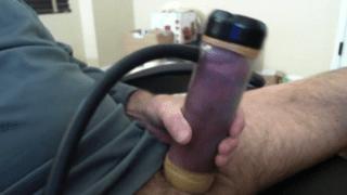 Horny gay man cock pump