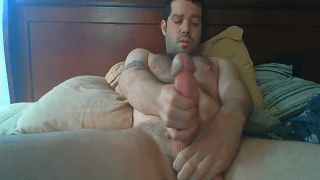 Straight man wanks his monster cock