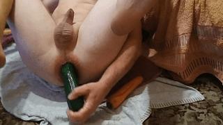 Cucumber dildo anal fun