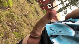 Mushroom cock cum wanking outside