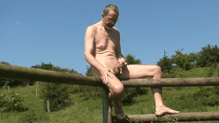 Outdoor old man wanks mature gay porn