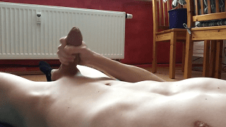 Smooth stomach guy jerks and sprays cums