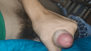 Teenage boy with hairy balls jerks and cums