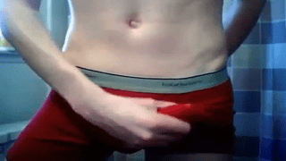 Underwear lad shows his big dick bulge